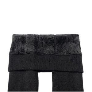Image 4 - Chrleisure quente feminino mais veludo inverno leggings tornozelo comprimento manter quente sólida calças de cintura alta tamanho grande leggings femininas