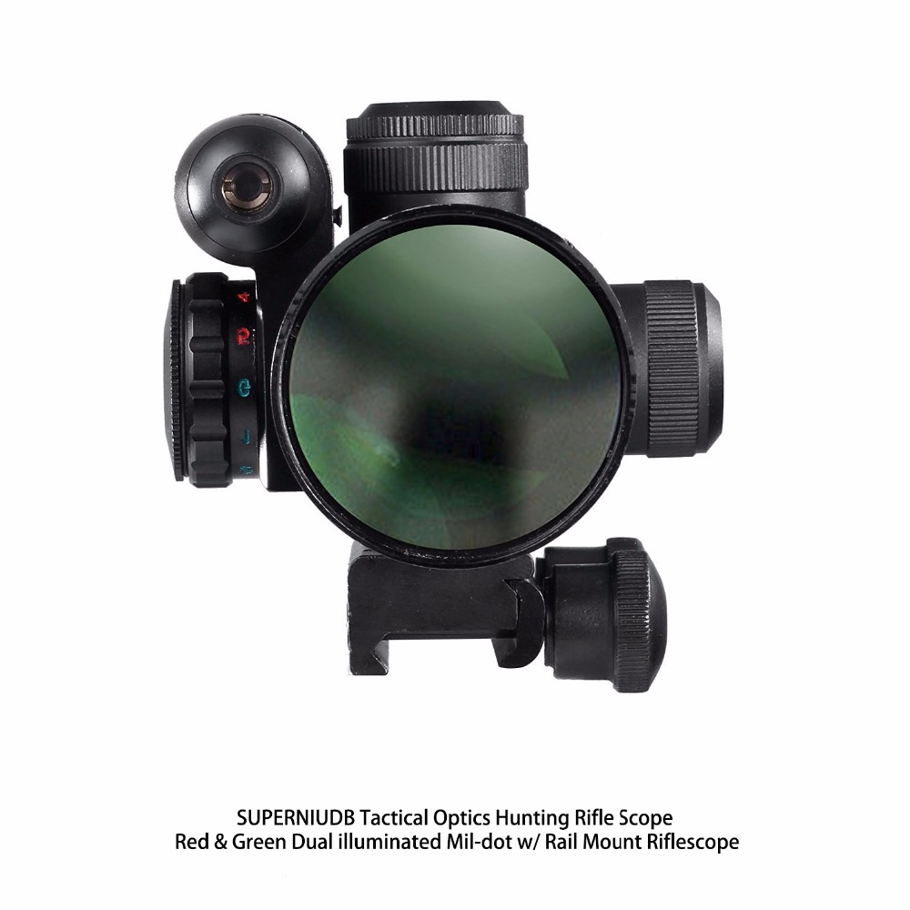 Tactical Optics Hunting Rifle Scope Red & Green Dual illuminated Mil-dot w/ Rail Mount Riflescope 2 5 10x40 tactical rifle scope outdoor hunting accessories mil dot red green illuminated red laser mount rifle scope