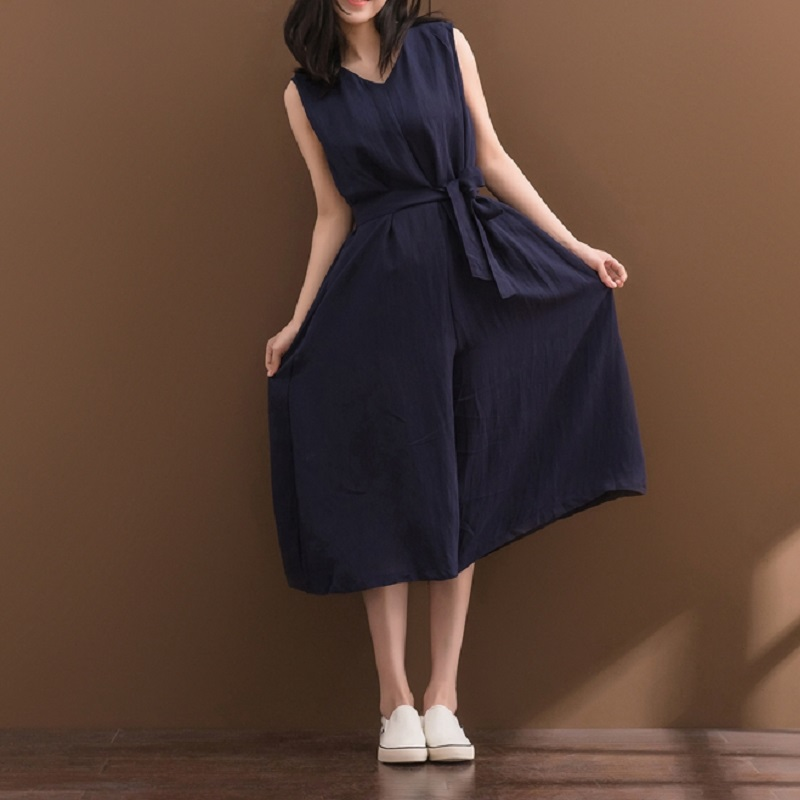 Mori Girl Summer Women Overalls Sleeveless V Neck Wide Leg Female Pants Casual Loose Cotton Linen Navy Blue Jumpsuits Rompers