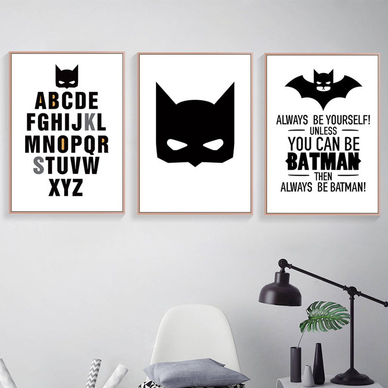 Batman Superhero Wall Art Canvas Painting Superman Nordic Poster Decorative Cartoon Kids Wall Pictures For Living Room Unframed in Painting Calligraphy from Home Garden