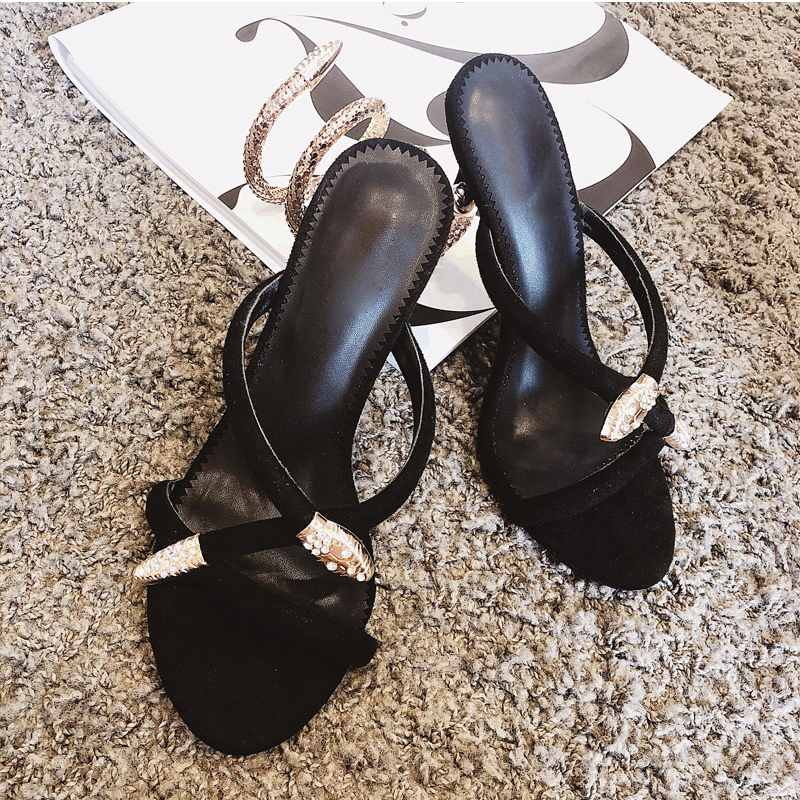 ddda2c79e9 US $52.5 40% OFF|Summer rhinestone dress Sandals women thin High Heels gold  black snake serpentine crystal sexy Slippers ladies sapato feminino -in ...