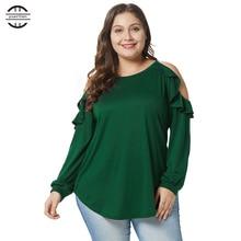 2018 New Winter Big Size Ruffle T Shirt Women Sexy Off Shoulder Casual Long Sleeve O neck Shirts Women Tops Plus Size Tee Shirt