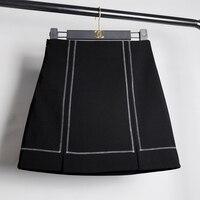 Carol Diários de 2017 outono e inverno feminino busto saia de cintura alta saias Das Mulheres Uma Linha de Mini Saia estudante saia curta preta