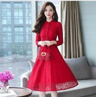 2018 осень зима Новый 2XL плюс Размеры Винтаж кружевные красные женские платья миди обтягивающее пляжное платье вечерние с длинным рукавом взл