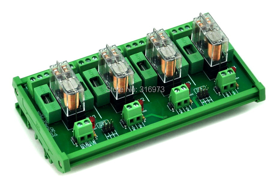 DIN Rail Mount Fused 4 DPDT 5A Power Relay Interface Module, G2R-2 24V DC Relay.DIN Rail Mount Fused 4 DPDT 5A Power Relay Interface Module, G2R-2 24V DC Relay.