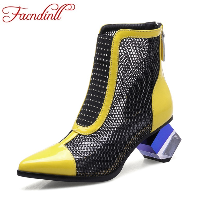 new 2017 spring summer gladiator women short boots high heels pointed toe genuine leather women summer