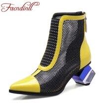 Nuevo 2017 de primavera y verano del gladiador mujeres botas cortas tacones altos botines punta estrecha de cuero genuino de las mujeres del verano de la alta calidad