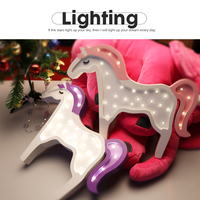 Cute Unicorn Night Lights Handmade Birch Lamp Gadget LED Lighting Home Bedside Nightlight For Kids Toy