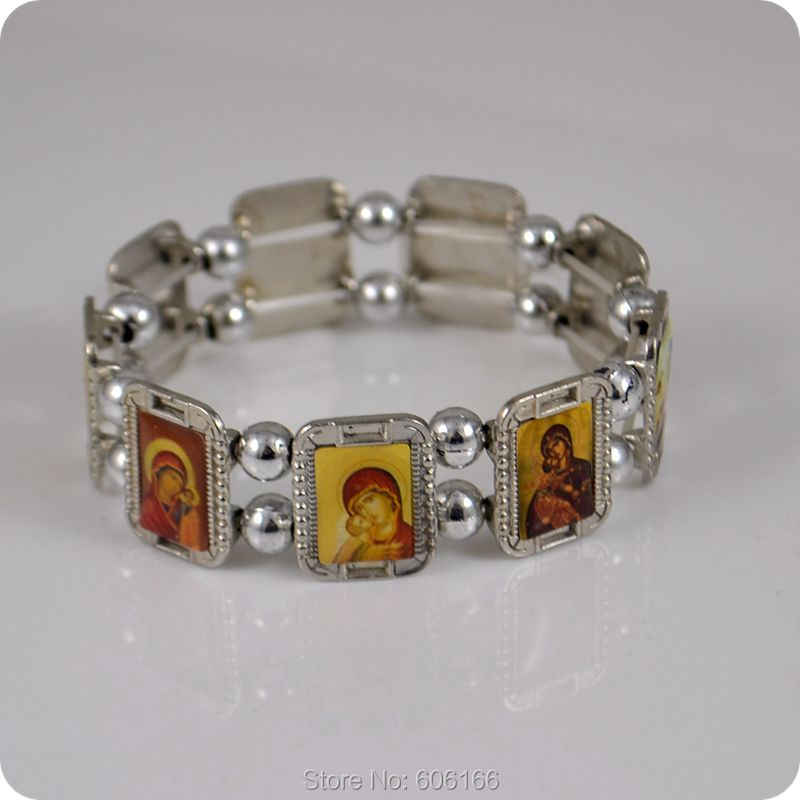 Ortodoks Agama YESUS Perawan Maria Icon Rosary Beads Gelang Fashion Jewelry Alloy Elastis Gelang