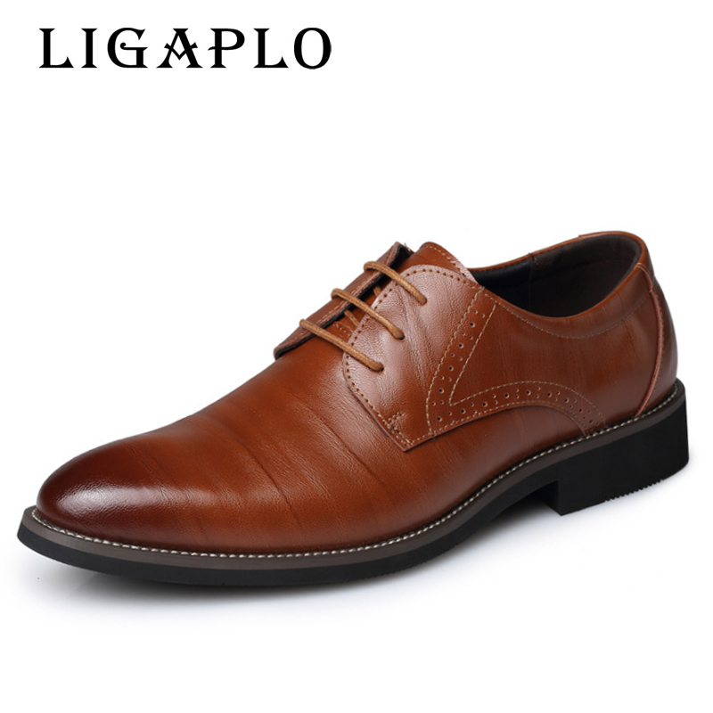 2017 New Mens Real Cowhide Leather Oxford Shoes Comfortable Insole Lacing Business Dress Shoes Man Wedding High Quality Shoes