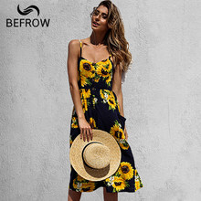 BEFORW Women's Sexy Summer Backless Button Down Striped Print Swing Midi Dress With Pockets 2018 White Boho Vintage Beach Dress(China)