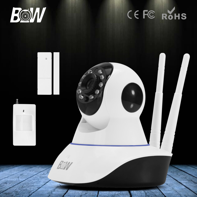 BW HD 720P Wireless IP Camera Wi-Fi P/T Camera Door and Infrared Motion Sensor Alarm Device Home Security WiFi IP Camera bw wireless wifi door