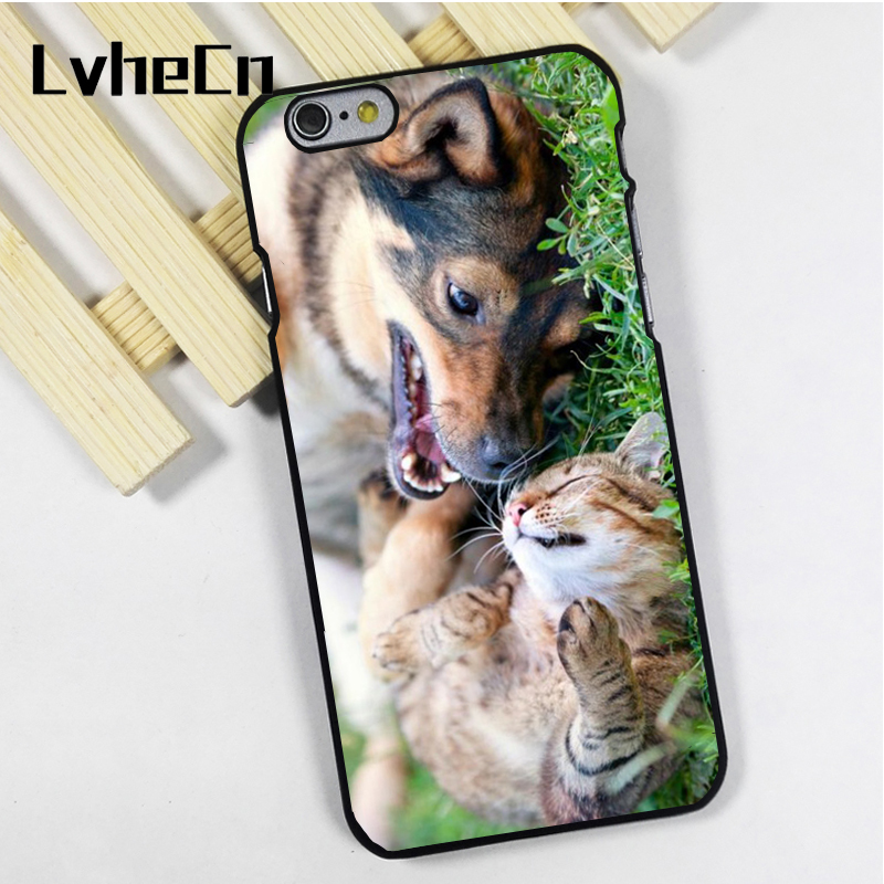 LvheCn phone case cover fit for iPhone 4 4s 5 5s 5c SE 6 6s 7 8 plus X ipod touch 4 5 6 Cat And Dog Friends Playing