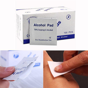 100pcs/box Alcohol Wipe Pad Medical Non-woven Fabric Wet Wipes Disposalble Skin Cleanser For Home First Aid Sanitizing