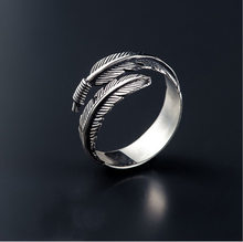 Liga masculina europeia e americana anel aberto personalidade geométrica folha pena anel ajustável crd141
