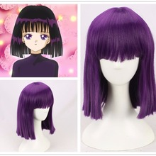 Sailor Moon Cosplay Purple Wig Tomoe Hotaru Princess Saturn Synthetic Hair for Adult