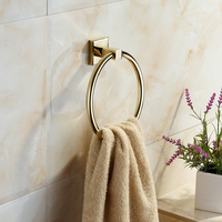 A1 European abstract gold copper free piercing, pressing and minimized towel rack bathroom towel bar LO55312