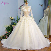 Waulizane Luxury Embroidery Appliques Scoop Ball Gown Wedding Dress Beaded 3D Flowers Vintage Organza Full Sleeves