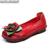 footwear women flat shoes genuine leather flats shoes cutout flats ladies slip on loafers Handmade flowers women shoes w56