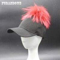2016 New Fashion Raccoon Fur Pompom Hats Men Women Brand Baseball Caps Casual Snapback Cap Hat