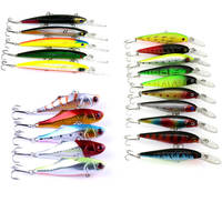 Assorted 20Pcs Fishing Lure Bass Baits 7cm 14cm Hard Minnow VIB Crank baits Swimbait Plastic Artificial Bionic Lure Treble Hook