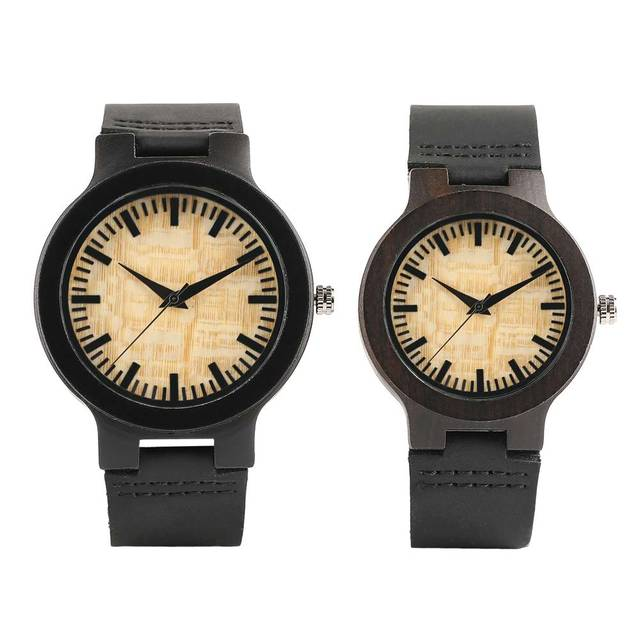 Couple Watches Dark Bronw Case Yellow Dial Wooden Watch Modern Bamboo Quartz-watch Hand-made Wooden Watches Soft Leather Band 2