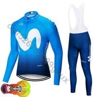 2020 Movistar Team long sleeve Cycling jersey Set bib pants ropa ciclismo bicycle clothing MTB bike jersey Uniform Men clothes