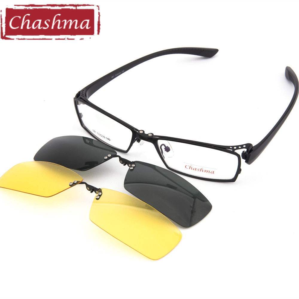 Chashma Men Fishing and Driving Clip Polariserade Solglasögon Quality Optical Mopia Glasses Frame för dag och natt