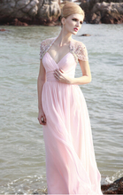 Hot Sales New Pleats Beaded Crystal V-Neck Floor Length A-Line Matched Jackets Pink Long Chiffon Prom Dresses Evening Gowns P300