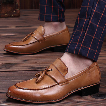 37~48 Plus Size Mens Slip On Tassel Dress Leather Shoes Men Fringed Loafers Pointed Toe Formal Business Wedding Suit Shoes Party