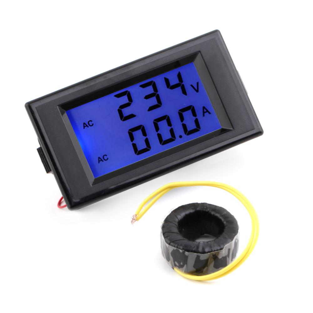 1 Pcs Black AC Digital Ammeter Voltmeter LCD Panel Amp Volt Meter 100A 300V 110V 220V Brand New Hot Sale