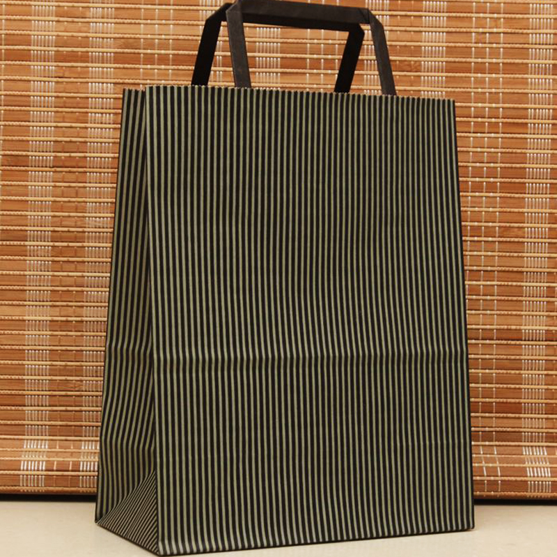 New Style 27x21x11cm Black Gray Stripe Festival Shopping Bags Paper Bag With Handles10pcs Paper Gift Bag With Handle H0199