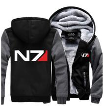 Mass Effect N7 cosplay costume Thicken winter mens womens fleece hoodie jacket coat