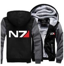Mass Effect N7 cosplay costume Thicken winter mens womens fleece hoodie jacket coat