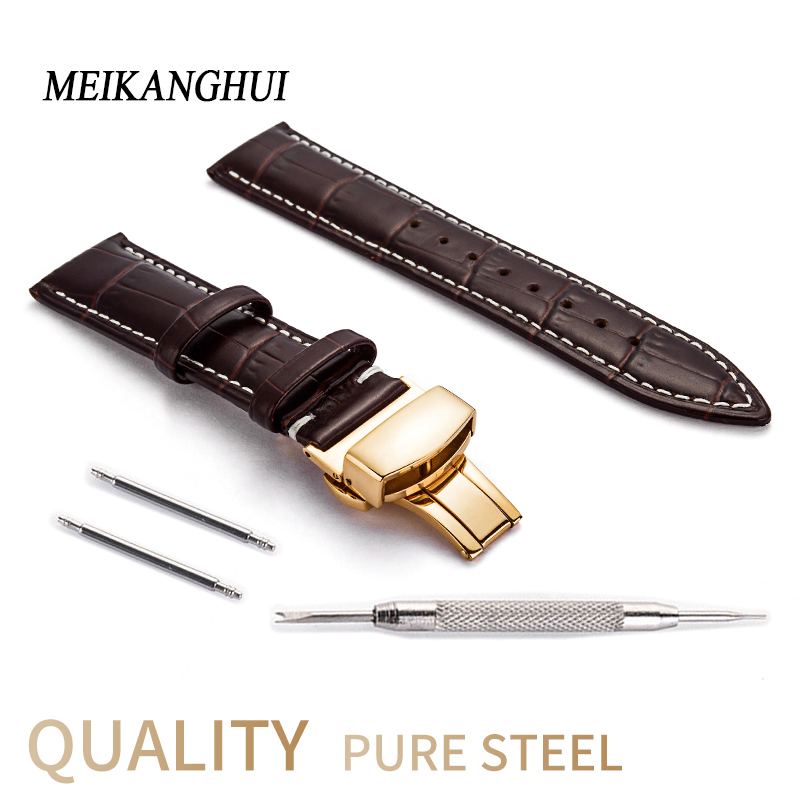 Genuine Leather Watches Band 12mm 13mm 14mm 16mm 18mm 20mm 22mm 24mm Waterproof Classical leather Watch Accessories Women Straps