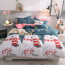 Nordico 100% Cotton Bedding Set With Duvet Cover Bed Sheet Pillowcase Children 4pcs Elk Bedding Bed Linen King Queen Twin Size