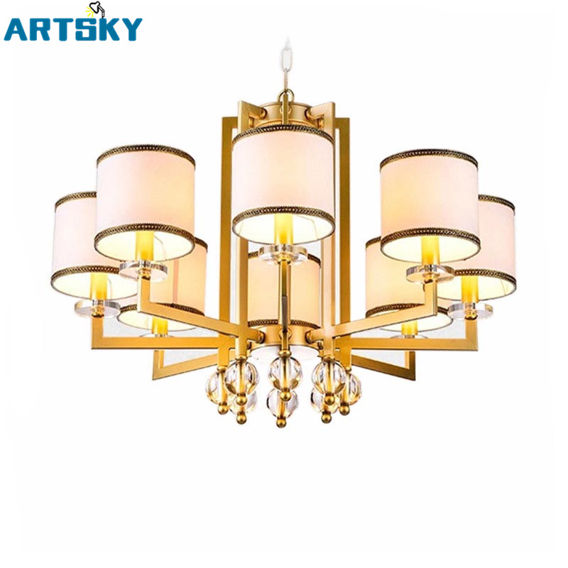 Elegant Vintage American Wrought Gold Suspension Light Fancy Lamp With Lampshade  Iron Chandelier For Bedroom Living Room Part 19