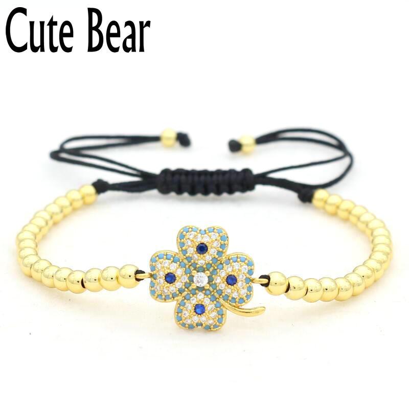 Cute Bear Brand Women Bracelet Micro Pave Setting CZ Lucky Grass Charm Bracelets 4mm Copper Beads Adjustable Macrame Bracelet