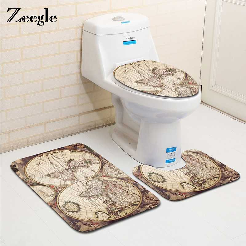 ... World Map Printed 3pieces Bath Rug Set Water absorption Bathroom Carpets And Mat Set Washable Toilet ...