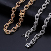 HipHop Men's Necklace Copper All Iced Out Gold/Silver Color Plated Micro Paved CZ Stones Necklaces 18 22 Length Gift
