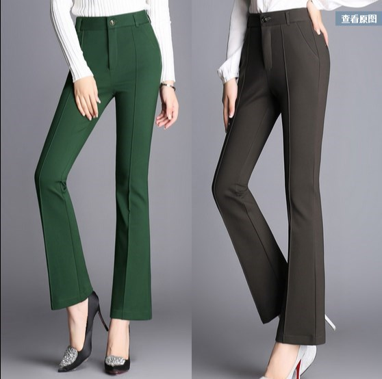 Office Ladies Stretch Flare Pants Women Dress Formal Trousers Woman Long Pants High Waist ...