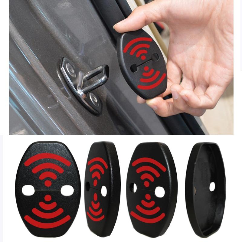 DIY Lock Sticker Car Door Lock Cover Fit For Nissan Maxima LEAF 370Z GT-R JUKE Pathfinder Armada Quest Note Combi 4 pcs Per Set