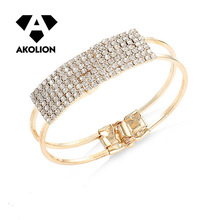 Bracelet jewelry simple fashion multi row Roman crystal and gold silver bracelet combination, noble lady holiday gift jewelr