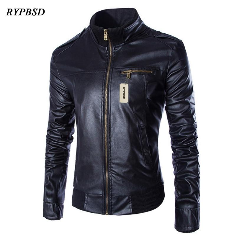 Chaqueta Cuero Hombre Motorcycle Leather Black Jacket Men Casual Jaqueta de couro Slim Fit Men Leather Jackets Coats