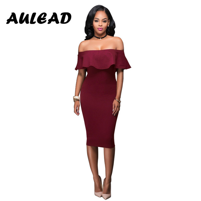 88057cd5dc592 AULEAD 2018 Summer Dress New Fashion slim bare shoulders dress red women  sexy dresses Knee-Length plus size S M L XL Vestido