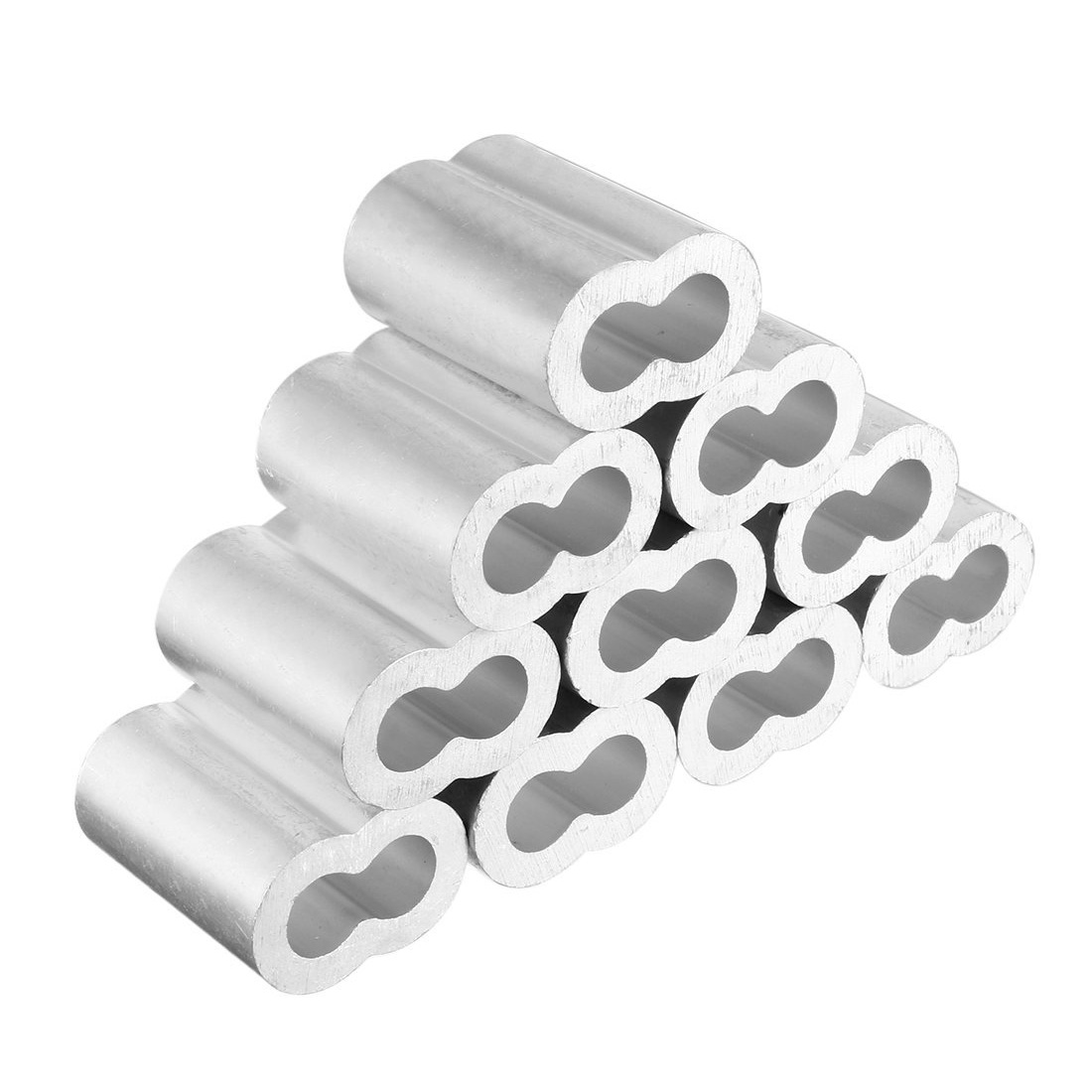 цена на 10pcs 1/2 inch Diameter Wire Rope Aluminum Sleeves Clip Fittings Cable Crimps Fittings Loop Sleeve Ferrule Stop Wire Rope Cable