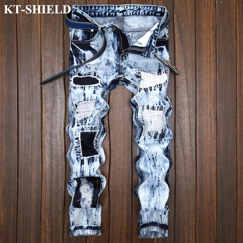Luxury Men Brand Jeans Plus size 28 38 Slim fit Denim Trousers For Man Vintage Distressed
