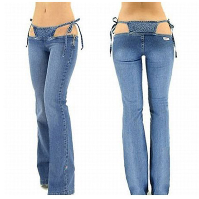 15435a41c55de Sexy Low Rise waist Jeans Denim Flare Pants Hot Thong in One Piece Trousers  Women Outfit Clothing Club Wear