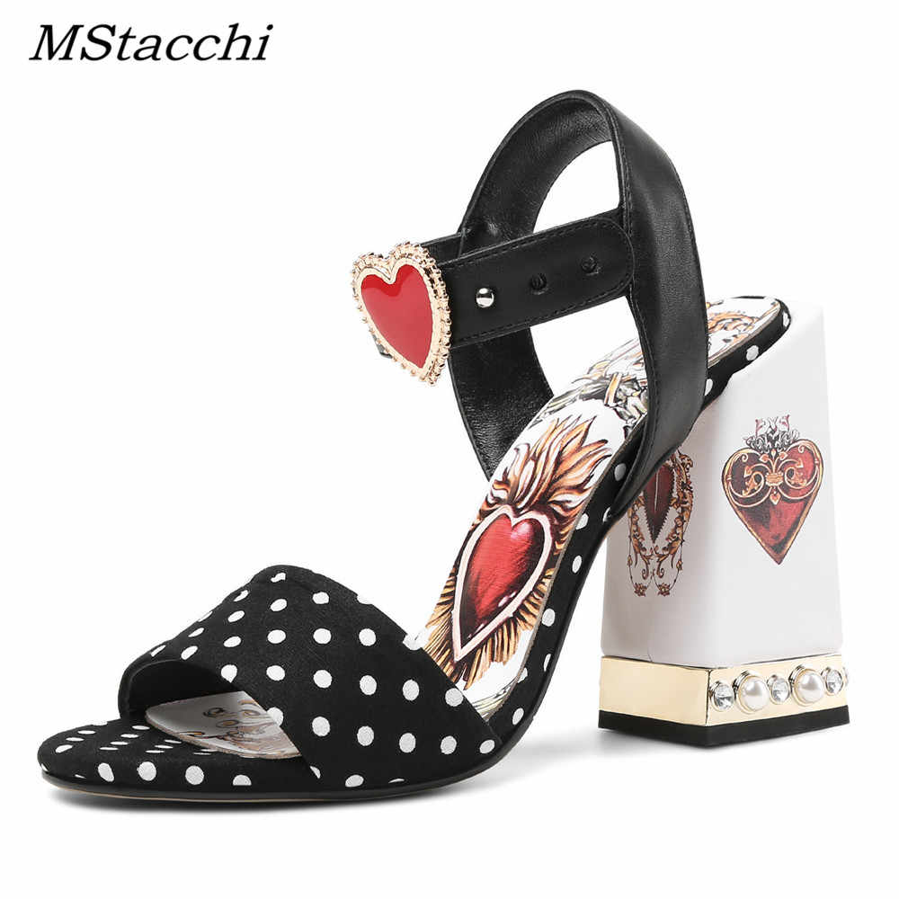 MStacchi Sexy Red Heart Chunky Heel Gladiator Sandals Flowers Rhinestone Ladies  Dress Shoes Woman High Heel 373fe4565ebd