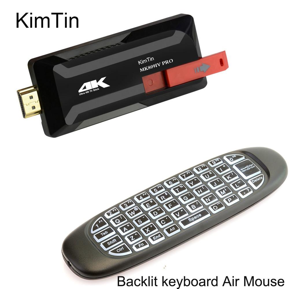 MK809IV Pro RK3229 Quad Core Android 7.1 Smart TV Stick 2 GB 8 GB WiFi 3D 4 K H.265 Bluetooth TV Dongle avec clavier rétroéclairé C120